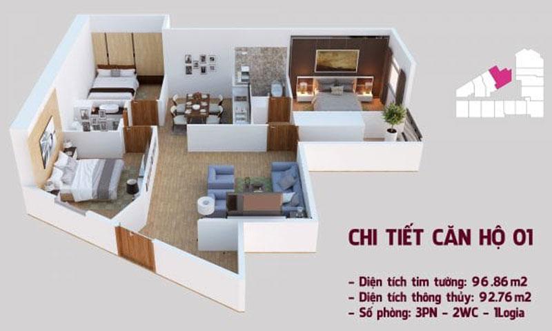 căn hộ mẫu 01 chung cư tháp doanh nhân