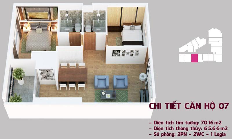 Chi tiết căn hộ 07 tòa Tháp Chung Cư