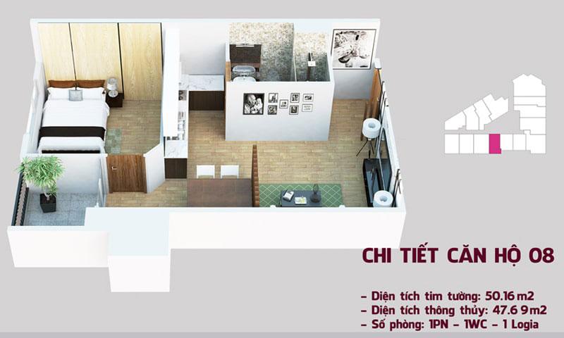 Chi tiết căn hộ 08 tòa Tháp Chung Cư