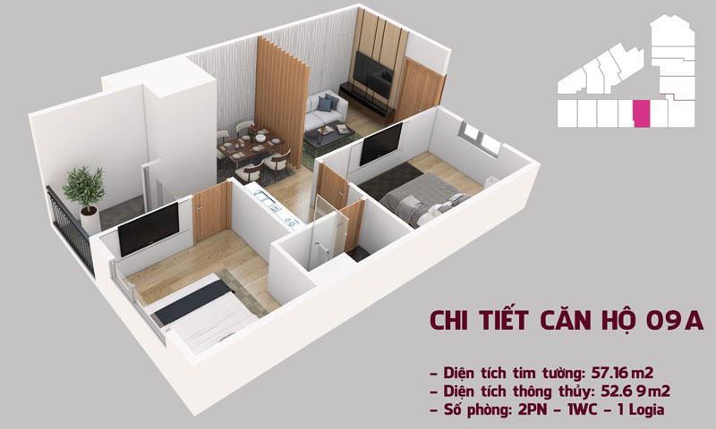 Chi tiết căn hộ 09 tòa Tháp Chung Cư