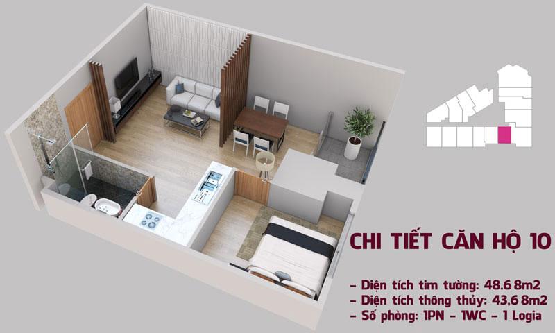 Chi tiết căn hộ 10a tòa Tháp Chung Cư